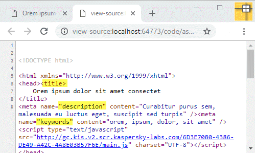 add meta tag on page load event