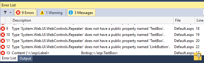 repeater does not have a public property named